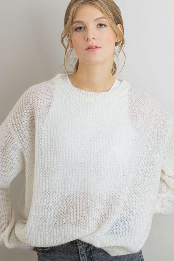 Loose fit mohair knit sweater for womens