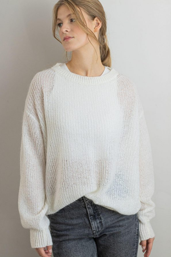 Crew neck white mohair sweater