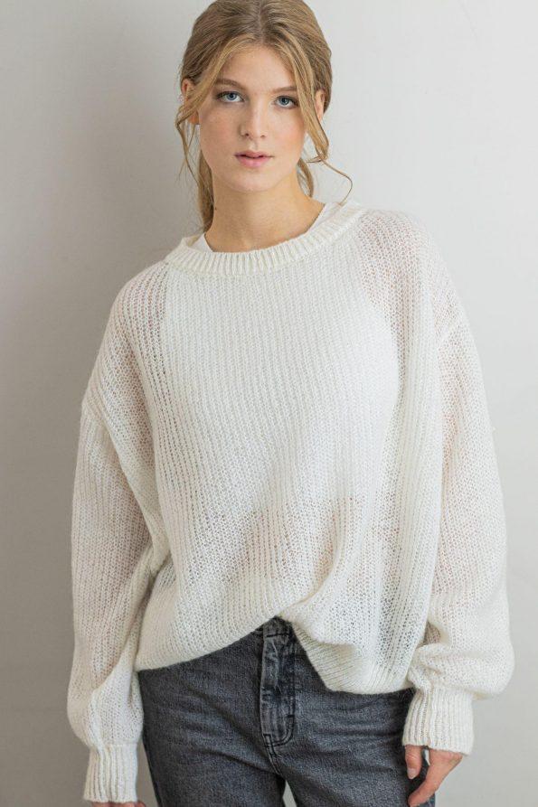 Mohair crew neck chunky sweater