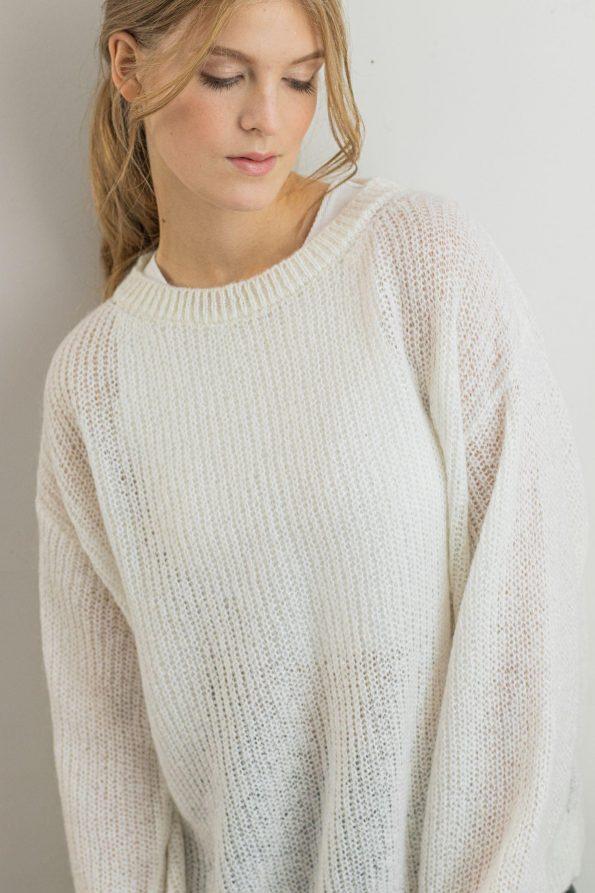 Fuzzy white sweater for women