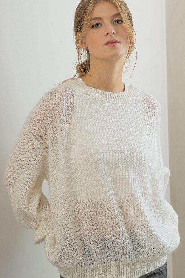 Crew neck white pullover jumper sweater VIKTORIA