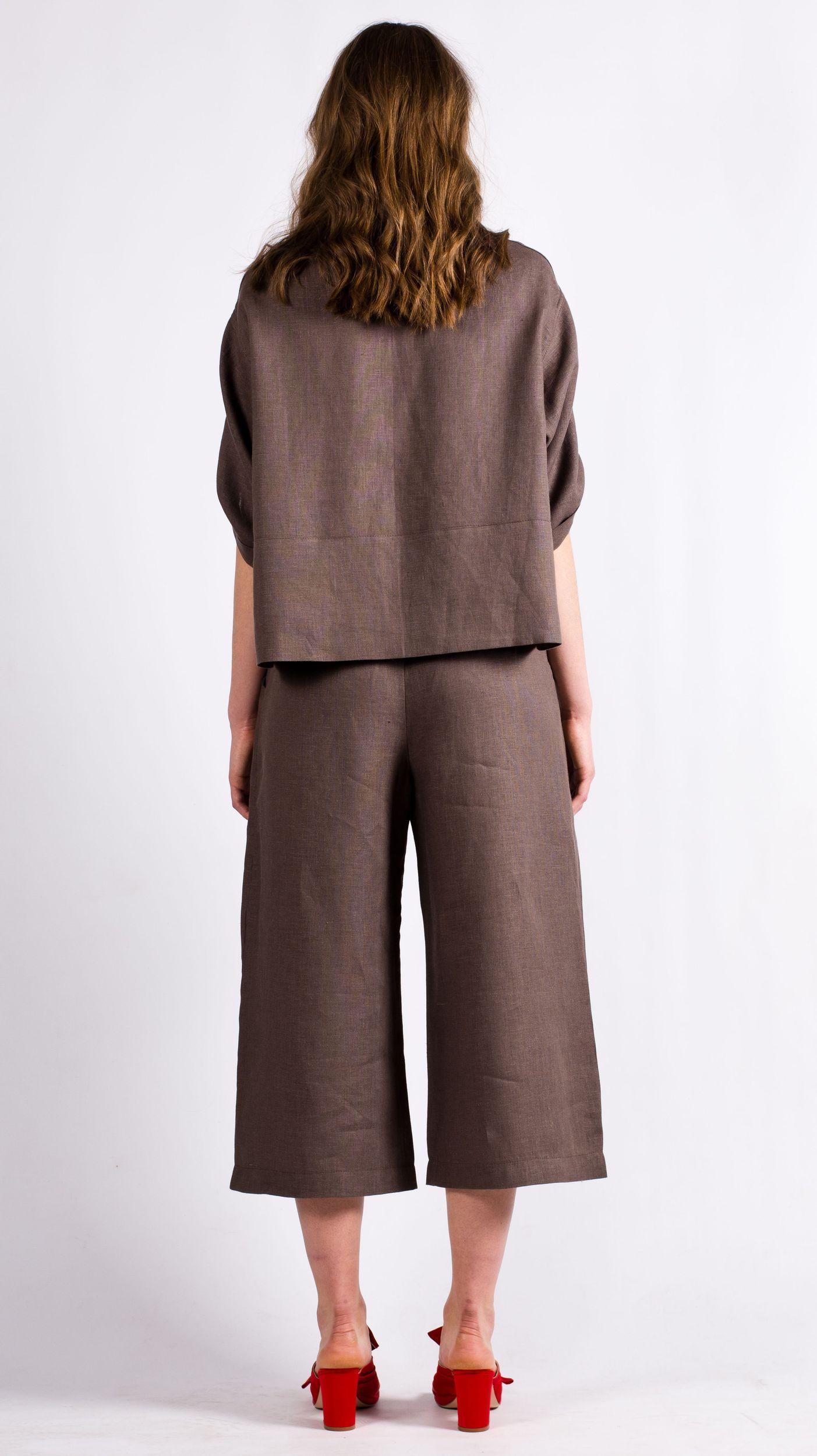 Brown womens linen set suit DAGMAR