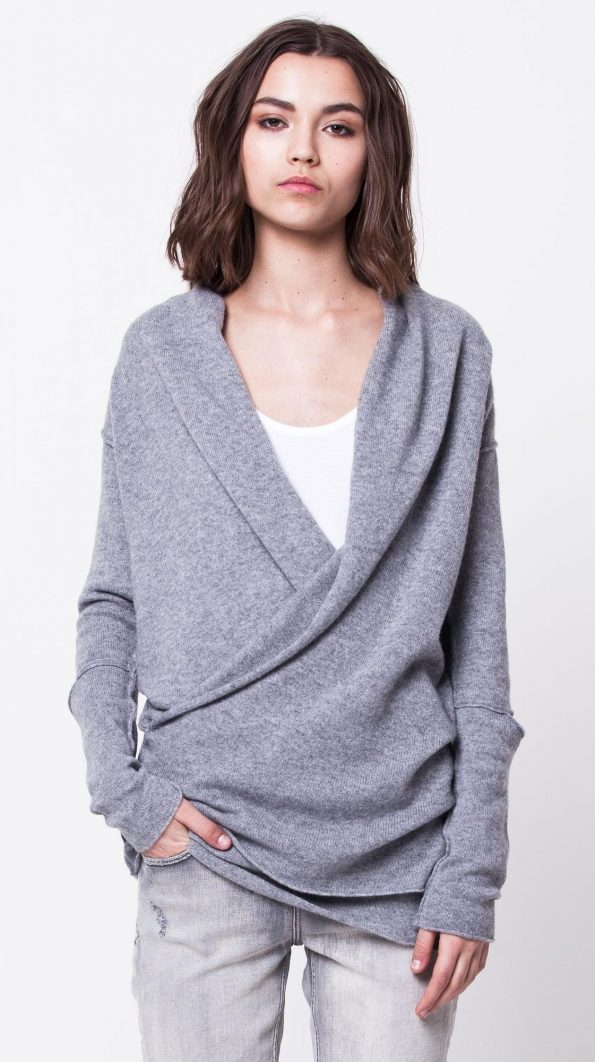 Grey cashmere womens wrap cardigan ANAIS