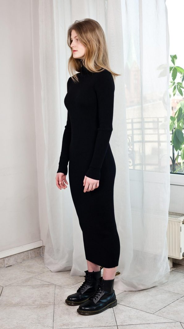 Knit fitted turtleneck dress black ALICE side view