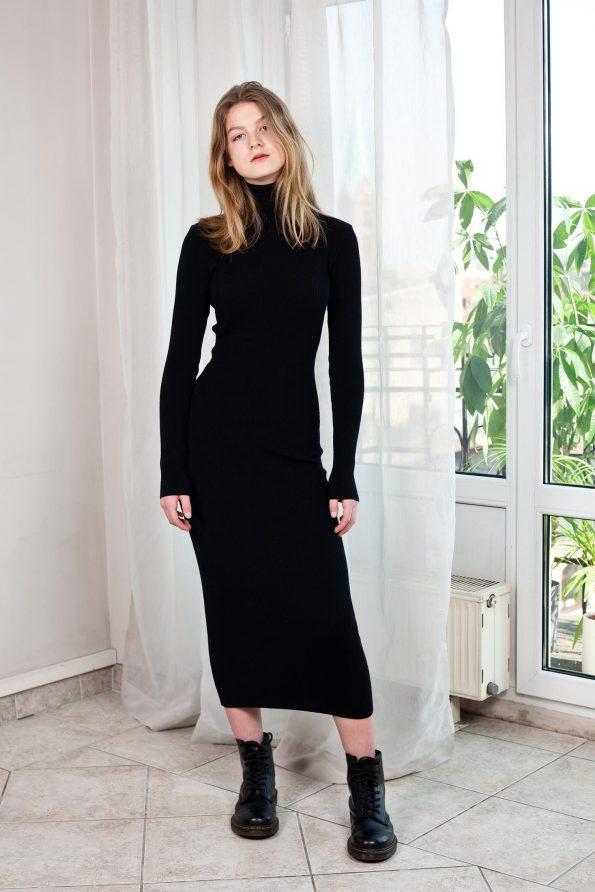 Ribbed black knit dress ALICE