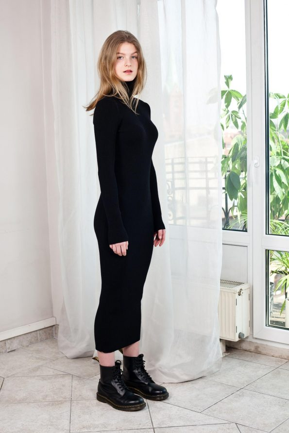 Knitted black turtleneck dress ALICE right side view