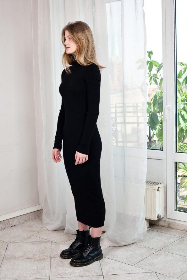 Knit black womens dress ALICE left side view