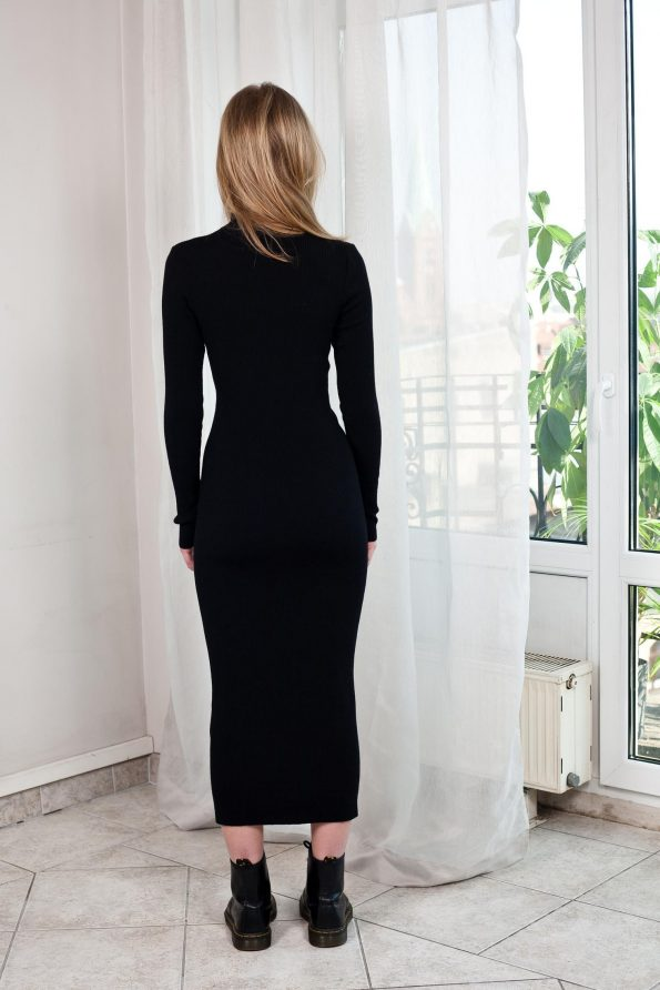 Black knitted turtleneck dress ALICE from the back