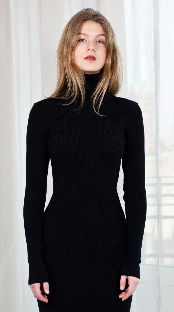 Knit fitted turtleneck dress black ALICE