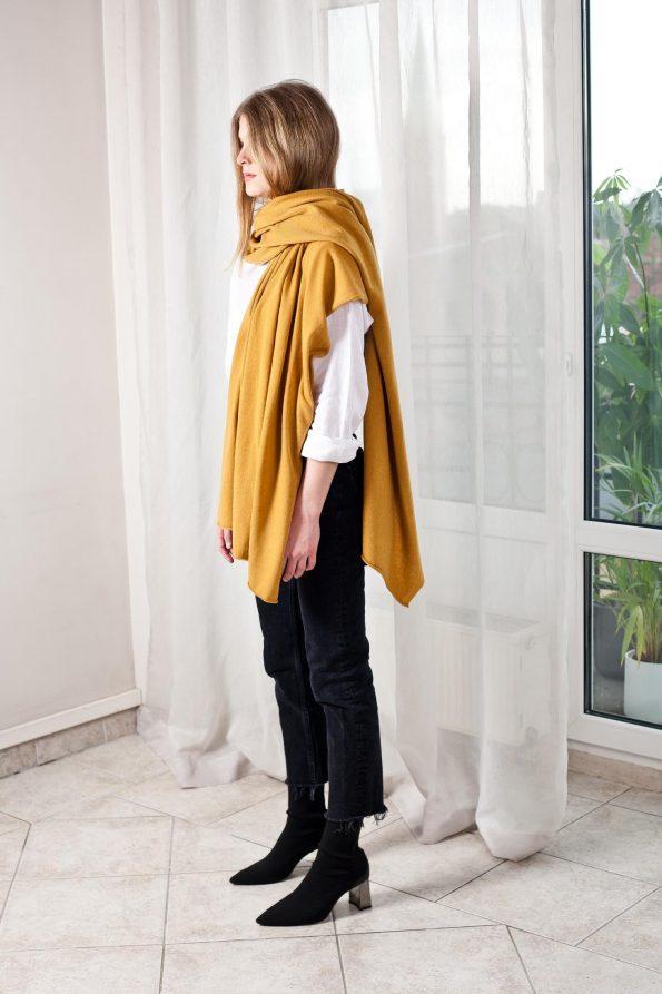 100% cashmere mustard yellow scarf travel wrap