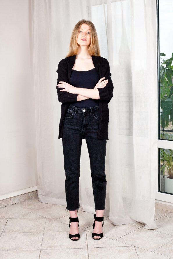 Black chunky knit cardigan