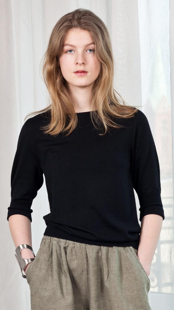 Knit womens top 3/4 sleeves black merino wool