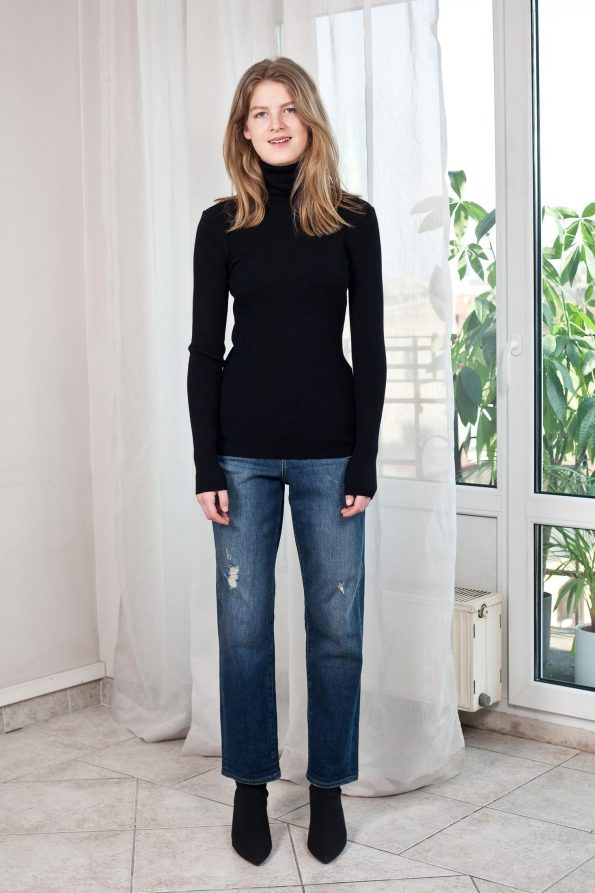 Knit womens ribbed turtleneck sweater in black merino wool