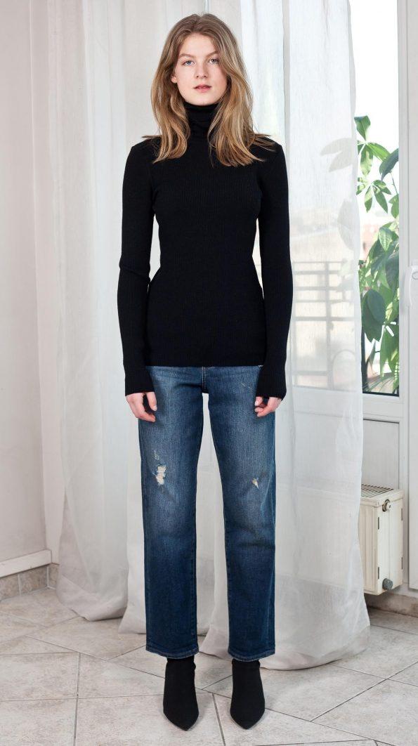 High neck sweater in black wool merino
