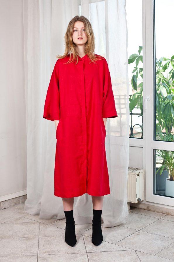 Linen coat long cardigan red womens