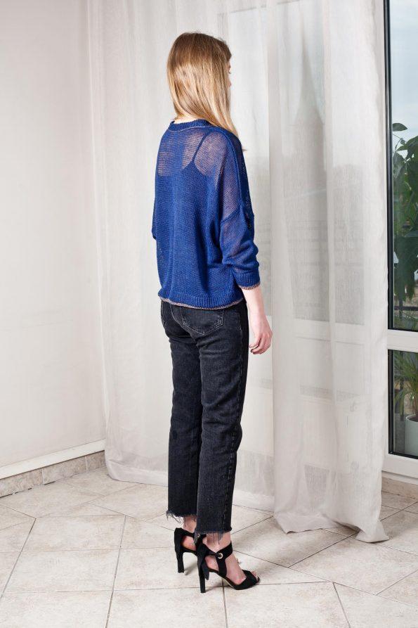 Sheer knit linen sweater women blue black strickpullover leinen blau schwarz damen