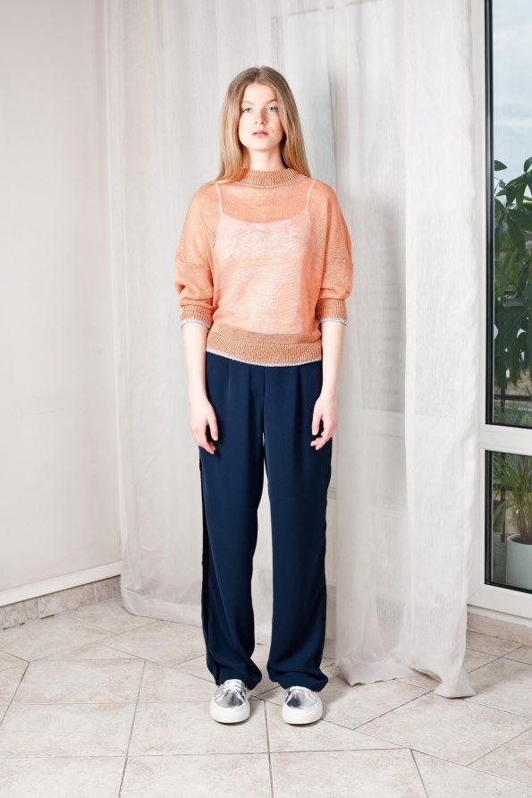 Sheer knit linen sweater women strickpullover leinen beige damen