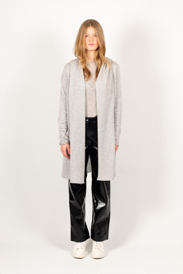 Grey womens cashmere cardigan and black pants