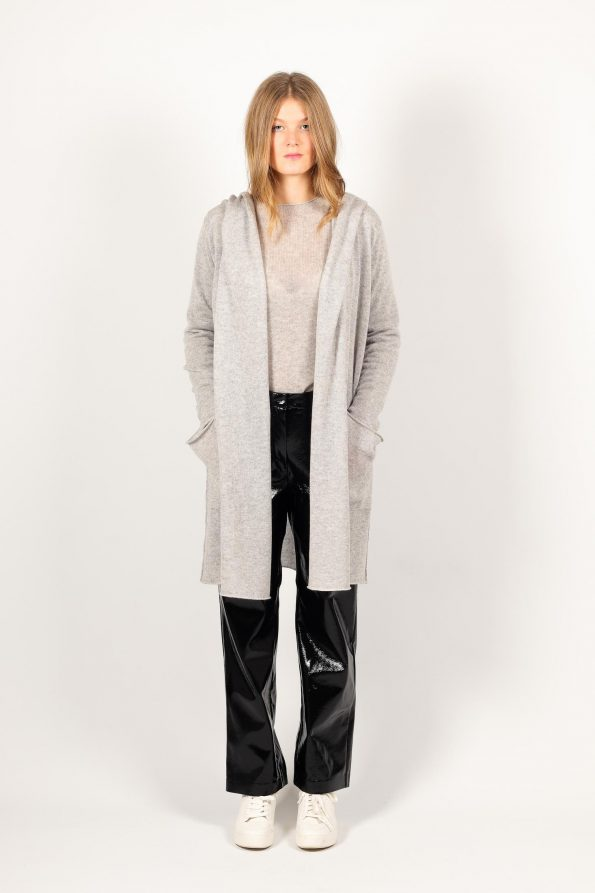 Long knit cashmere coat in grey