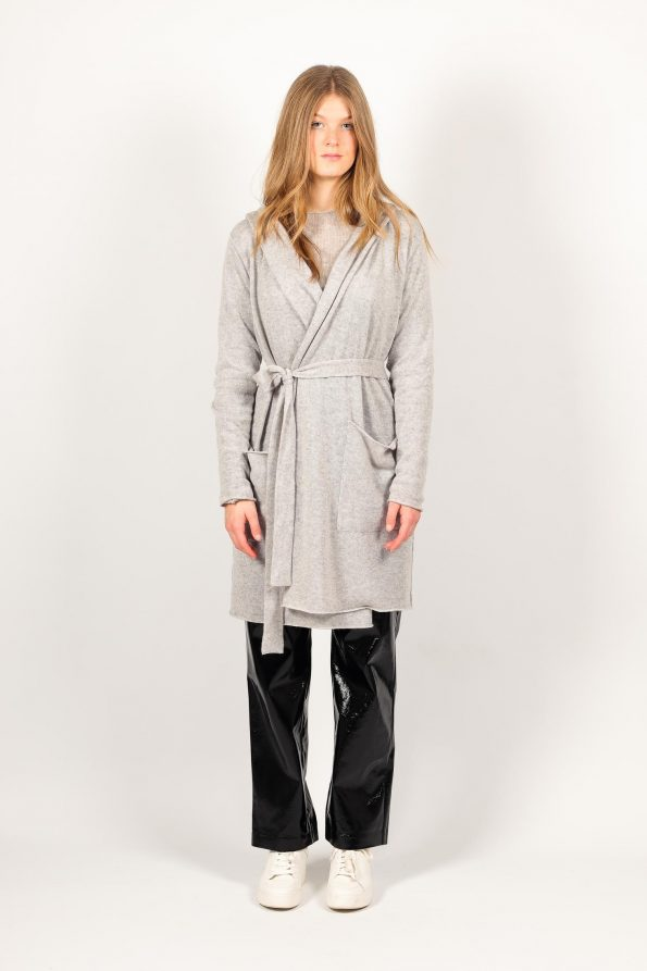 Grey womens cashmere cardigan with belt and pockets and black pants