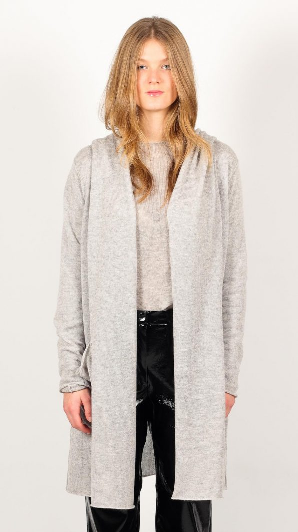 Open front cashmere cardigan with no buttons