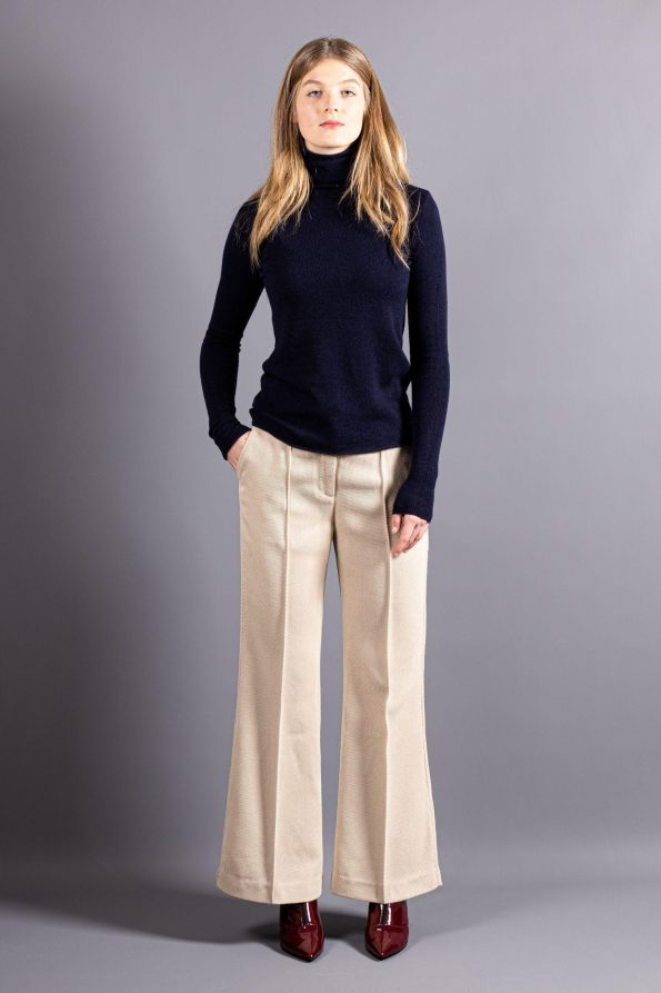 Dark blue knitted cashmere womens turtleneck rollneck sweater jumper pullover MARGO