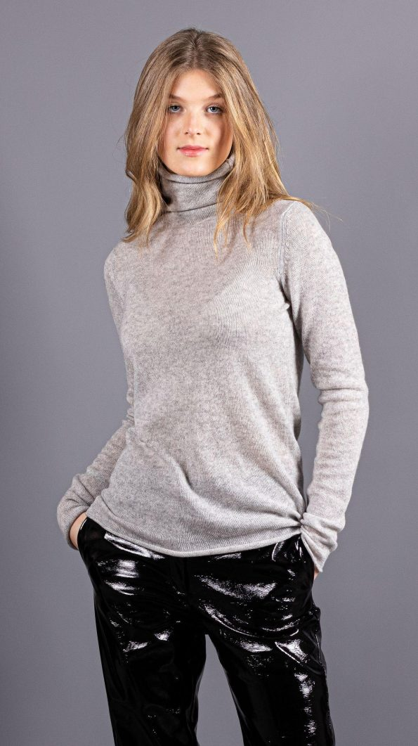 Grey knitted cashmere womens turtleneck rollneck sweater jumper pullover MARGO