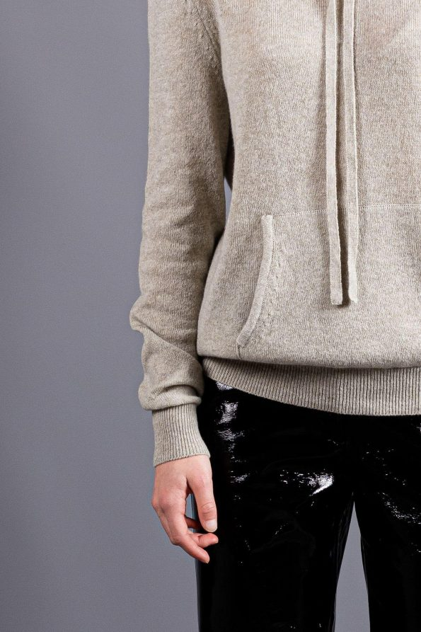 Grey cashmere hoodie sweatshirt hooded sweater jumper for women with kangaroo muff pockets and tie closure