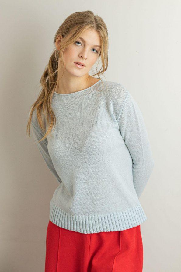 Crew neck sweater 1-ply cashmere light blue ANNA womens