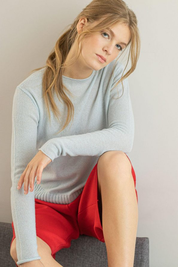 Crew neck 1 ply cashmere sweater for women ANNA