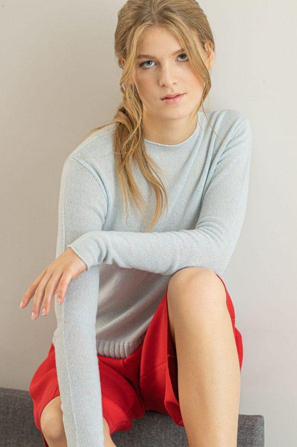 Light blue cashmere sweater ANNA