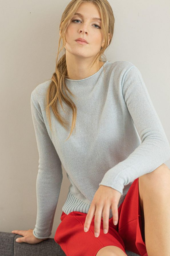 Crew neck cashmere wool sweater pullover ANNA