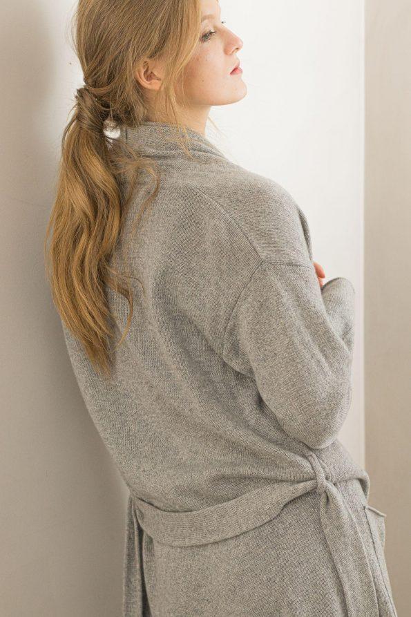 Cashmere cardigan sweater side OLIVIA