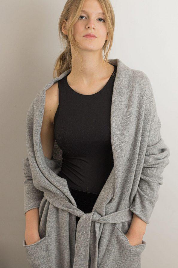 2 ply cashmere sweater cardigan knit coat OLIVIA