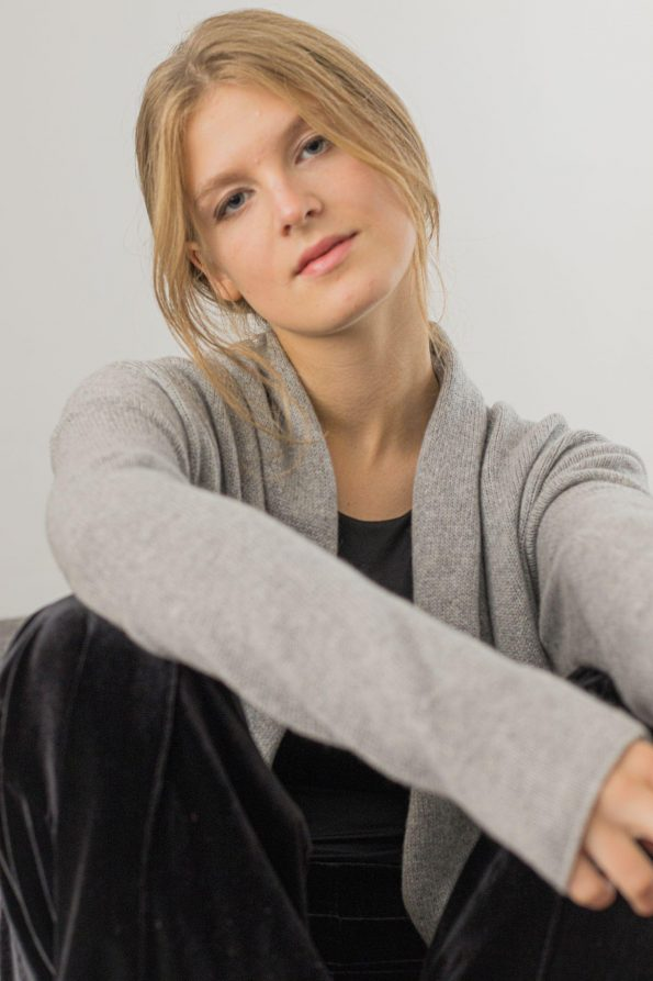Knitted 2 ply cashmere cardigan for women OLIVIA