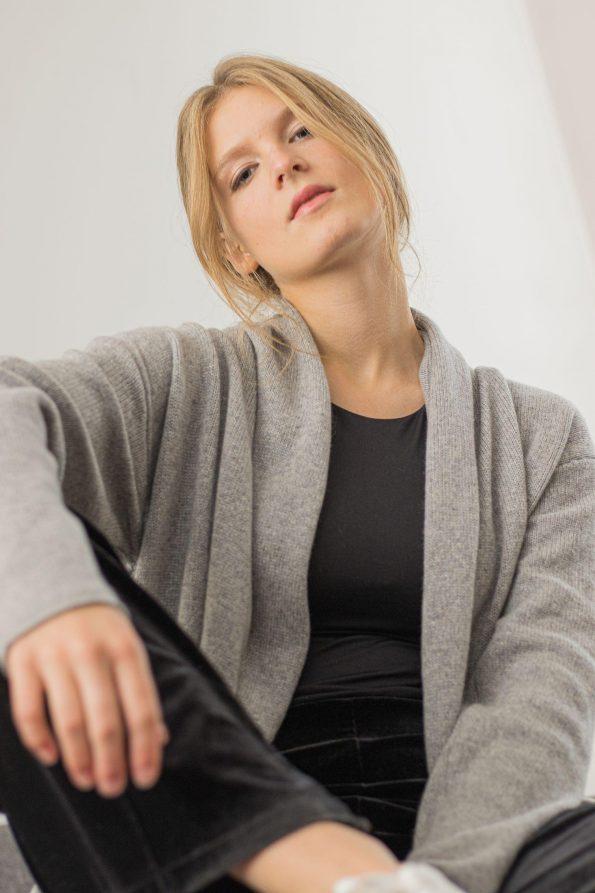 Knit cashmere cardigan sweater OLIVIA