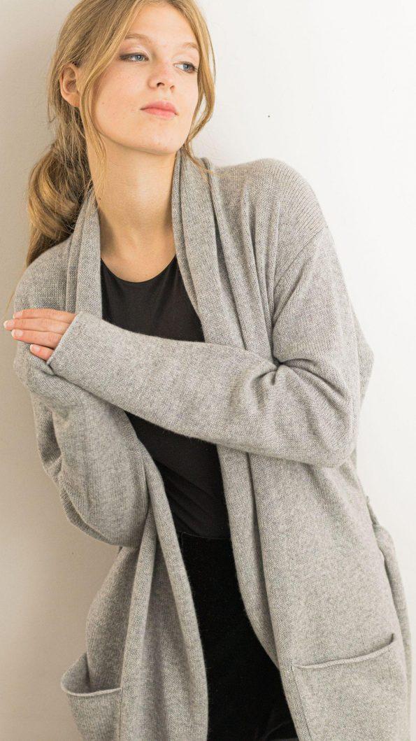 Cashmere shawl collar long sleeve cardigan sweater OLIVIA