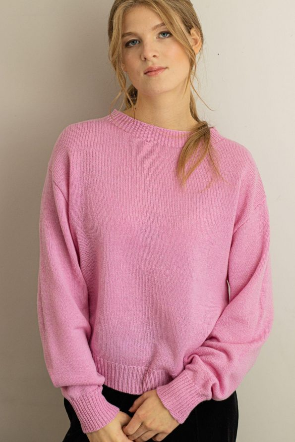 Crew neck womens sweater FRIDA PINK