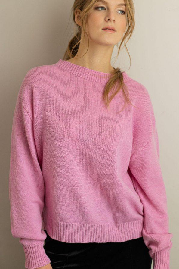 Crew neck merino sweater for women FRIDA PINK