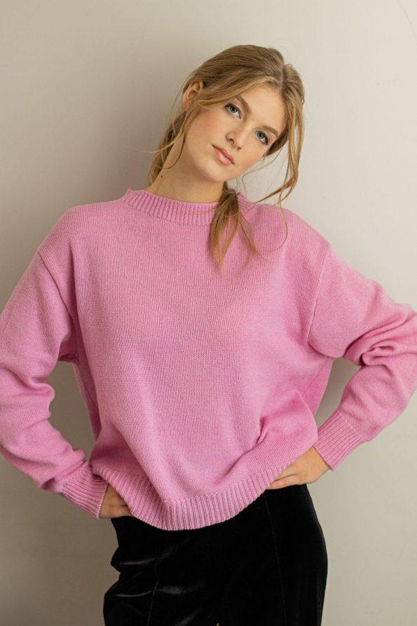 Oversized crew neck sweater for women FRIDA PINK