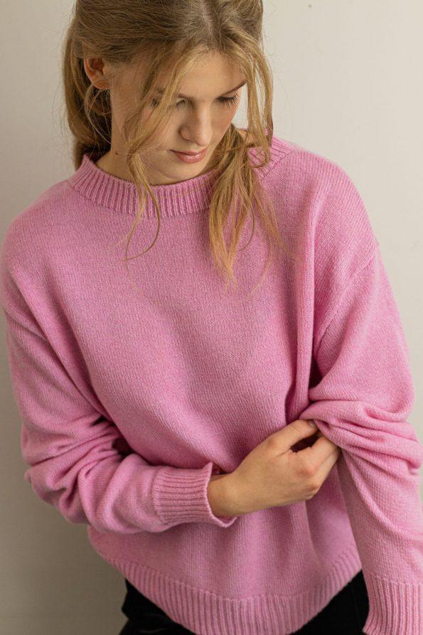 Oversized knit sweater womens FRIDA PINK