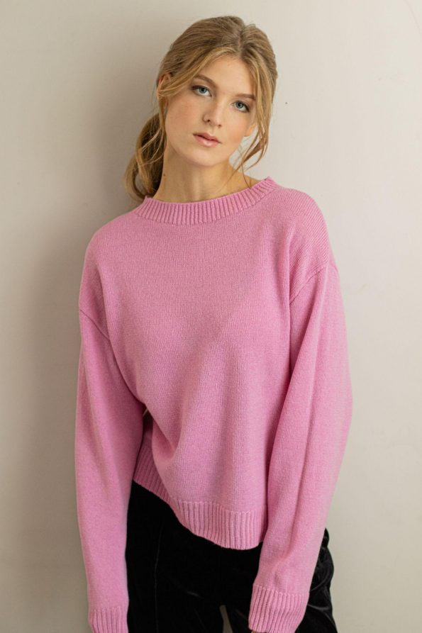Knitted oversized womens sweater FRIDA PINK