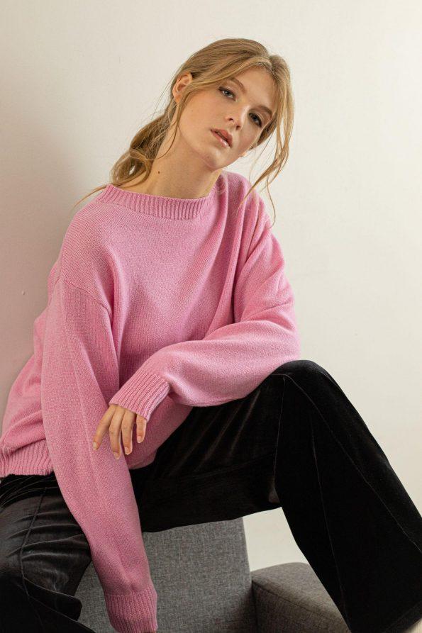 Crew neck knit sweater jumper FRIDA PINK