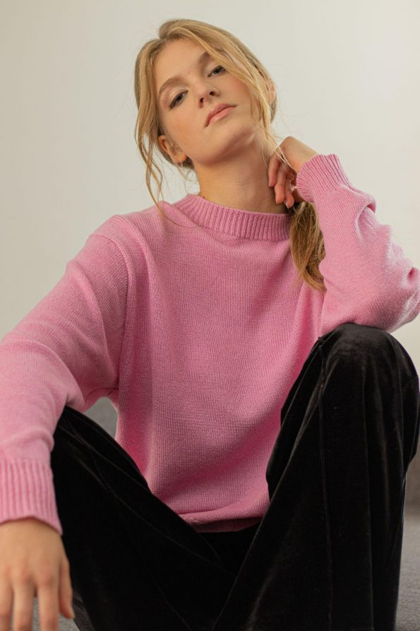 Loose fit oversized crew neck sweater womens FRIDA PINK