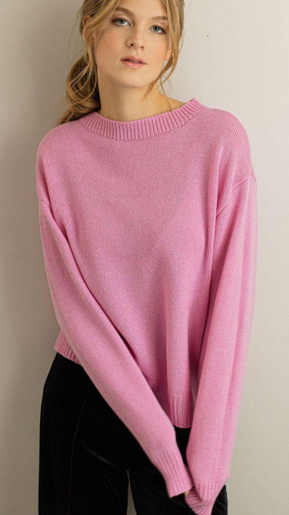 Crew neck merino wool sweater FRIDA PINK