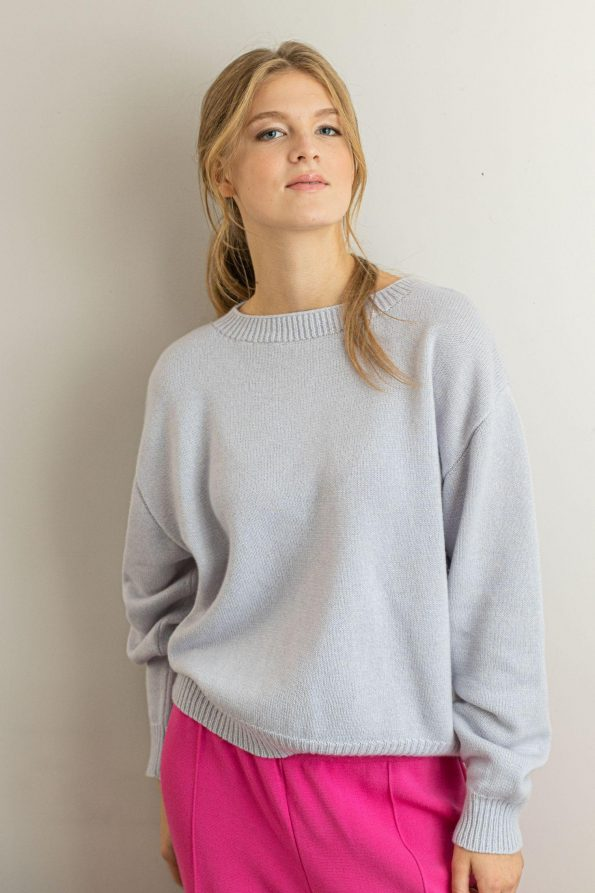 Cashmere silk wool blend sweater pullover Frida Blue