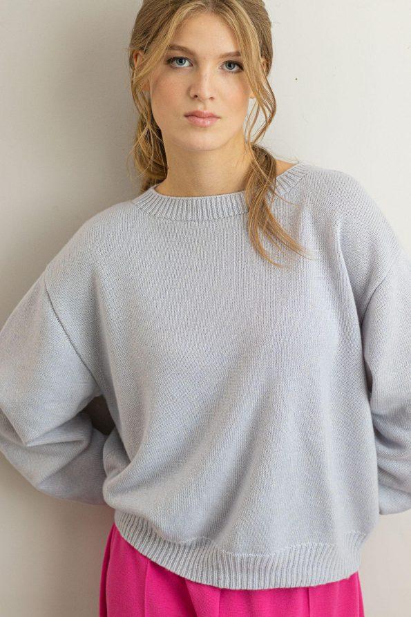 Knit cashmere silk womens sweater Frida Blue