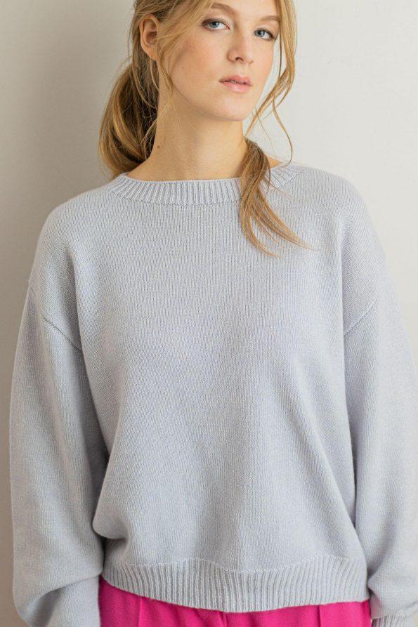 Cashmere silk wool blend jumper knitted womens Frida Blue