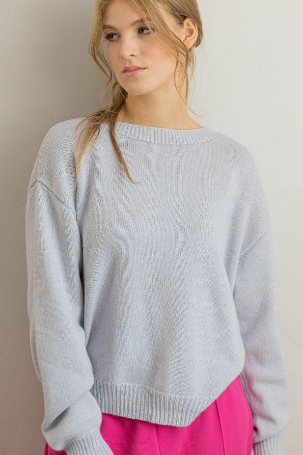 Oversized cashmere silk wool sweater women Frida Blue