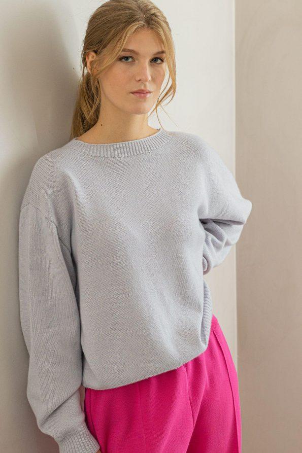Oversized knit women sweater Frida Blue